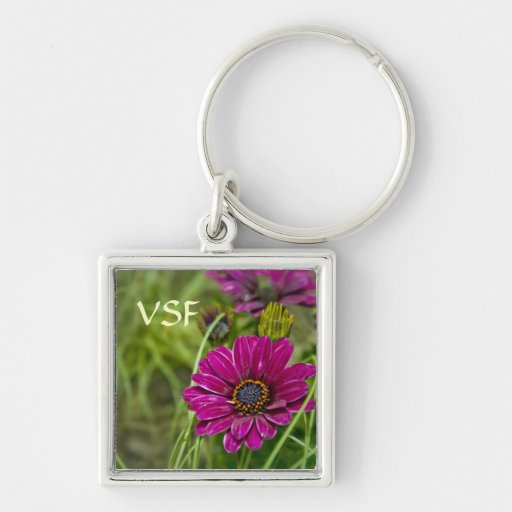 Pink Cape Daisy Flower initial keychain