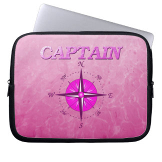 Pink Captain with Compass Rose Computer Sleeve