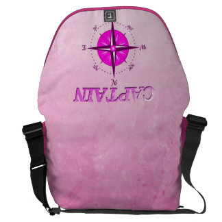 Pink Captain with Compass Rose Messenger Bag