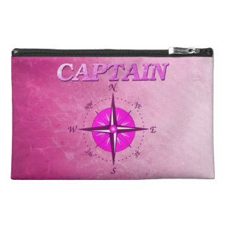 Pink Captain with Compass Rose Travel Accessory Bag
