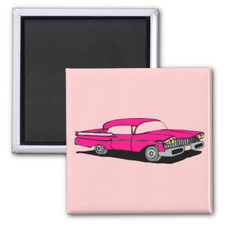 Pink Car 2 Inch Square Magnet