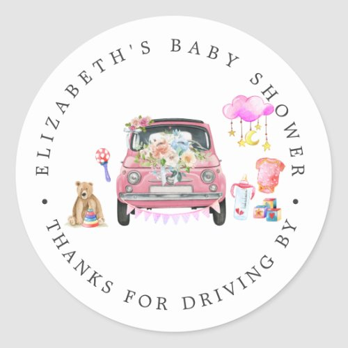 Pink Car  Drive_By Baby Shower Thank You Favor Classic Round Sticker