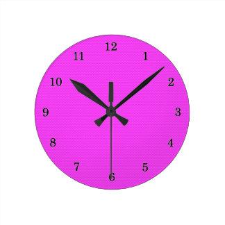 Pink Carbon Fiber Round Clock