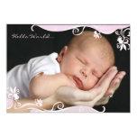 "Pink Caress Photo Birth Announcement 5"" X 7"" Invitation Card"