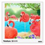 Pink Caribbean Flamingo Birds Wall Decal