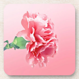 Pink carnation beverage coaster