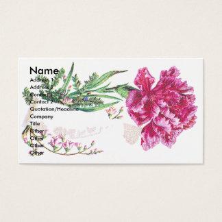 Pink Carnation Bouquet Victorian Trade Card