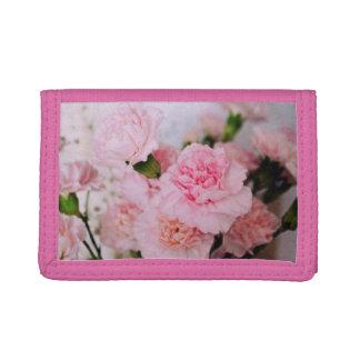 pink carnation flower photography. Vintage style Tri-fold Wallet