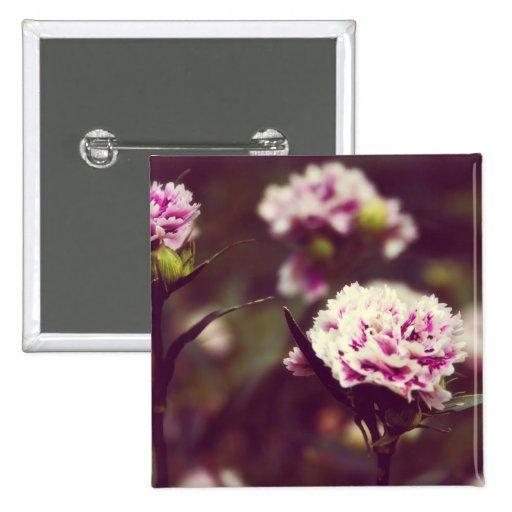 Pink Carnation flowers vintage lomo Pinback Button