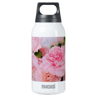 pink carnation flowers vintage style photography insulated water bottle