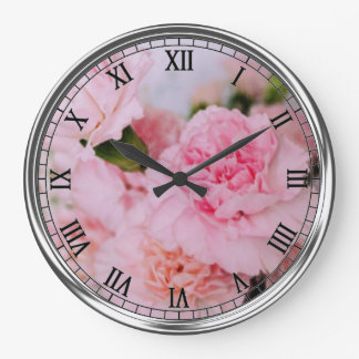 pink carnation flowers vintage style photography large clock