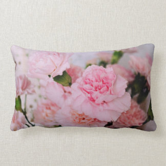 pink carnation flowers vintage style photography lumbar pillow