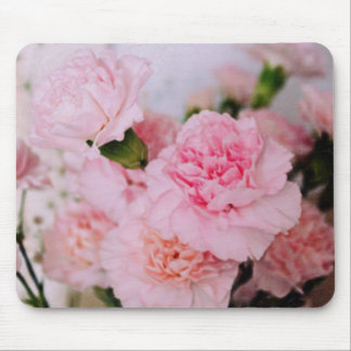 pink carnation flowers vintage style photography mouse pad