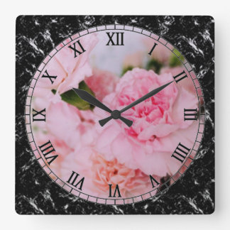 pink carnation flowers vintage style photography square wall clock