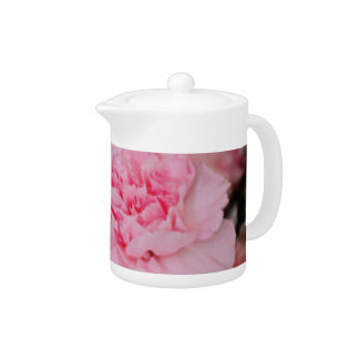 pink carnation flowers vintage style photography. teapot