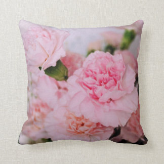 pink carnation flowers vintage style photography. throw pillow