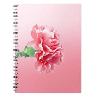 Pink carnation spiral note book