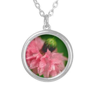 Pink Carnation Round Pendant Necklace