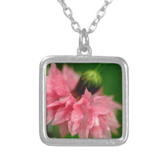 Pink Carnation Square Pendant Necklace