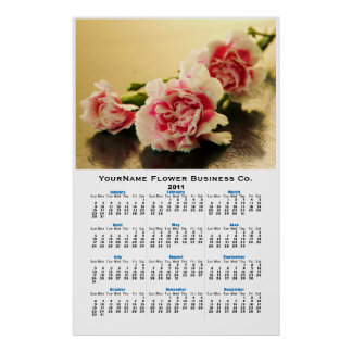 Pink Carnations Bouquet Floral Wall Calendar Posters