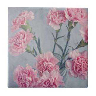 Pink Carnations Ceramic Tile