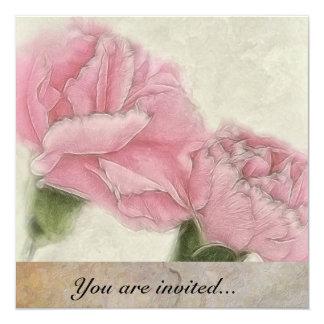 Pink Carnations Invitation