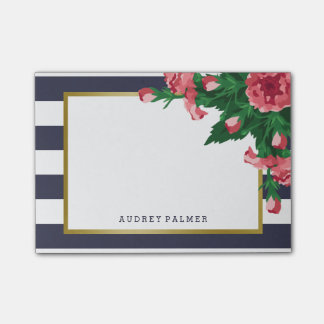 Pink Carnations & Navy Blue Stripes Custom Name Post-it® Notes