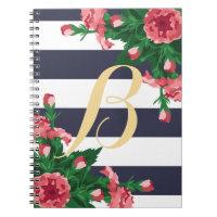 Pink Carnations & Navy Blue Stripes Monogram Spiral Notebook