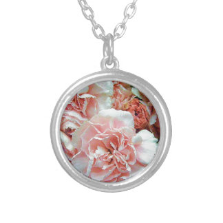 Pink Carnations Round Pendant Necklace