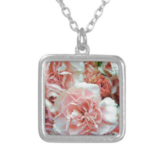 Pink Carnations Square Pendant Necklace