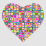 Pink 'Carnations' Textured Mosaic Tiles Pattern Heart Sticker
