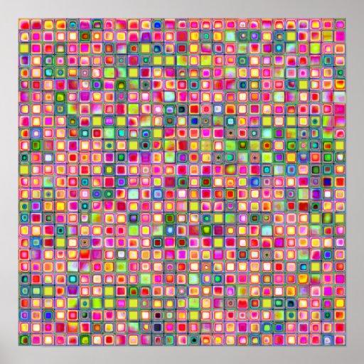 Pink 'Carnations' Textured Mosaic Tiles Pattern Poster