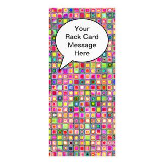 Pink 'Carnations' Textured Mosaic Tiles Pattern Rack Card