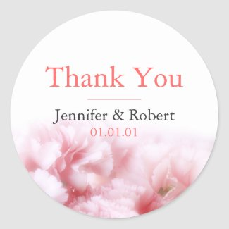 Pink Carnations Thank You Sticker