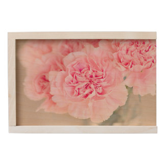 Pink Carnations Wooden Keepsake Box
