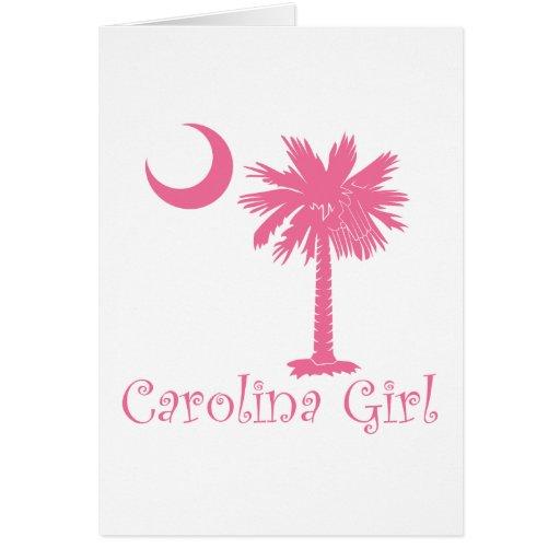 Pink Carolina Girl Palmetto Card