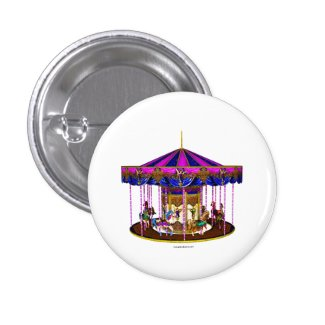 Pink Carousel Button Pin