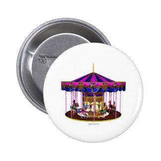Pink Carousel Button Pin