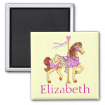 Pink Carousel Horse 2 Inch Square Magnet