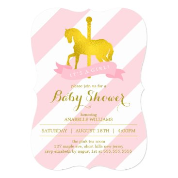 heartlocked Pink Carousel Horse Baby Shower Card