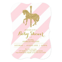 Pink Carousel Horse Baby Shower Invitation