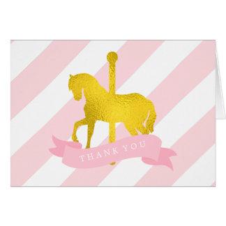 Pink Carousel Horse Birthday Card
