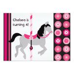 Pink Carousel Horse Birthday Invitation