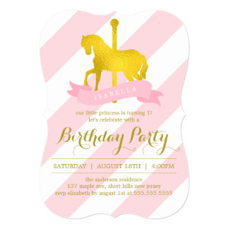 Pink Carousel Horse Birthday Party Card