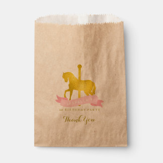 Pink Carousel Horse Birthday Party Favor Bag