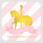 Pink Carousel Horse Birthday Square Sticker