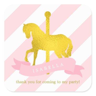 heartlocked Pink Carousel Horse Birthday Square Sticker