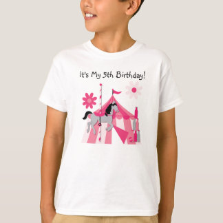 Pink Carousel Horse Birthday T-shirt