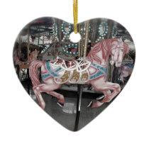 Pink carousel horse ceramic ornament