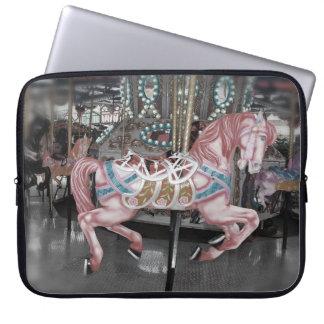 Pink carousel horse laptop sleeve